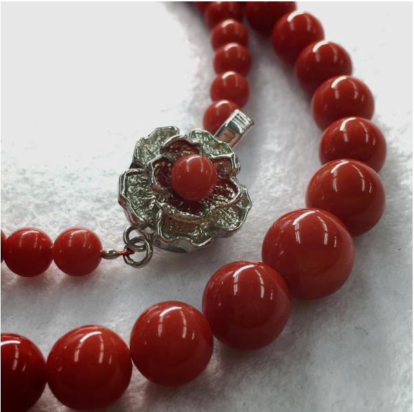 天然血赤本珊瑚ネックレス