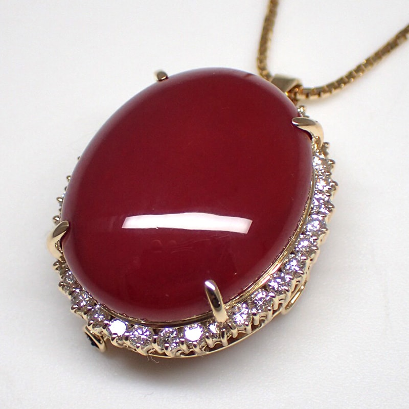 サンゴネックレス24.0g×ダイヤモンド1.56ct