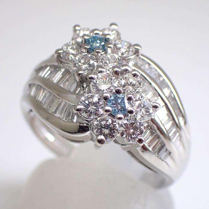 天然ダイヤモンド&ブルーダイヤリング 1.63ct