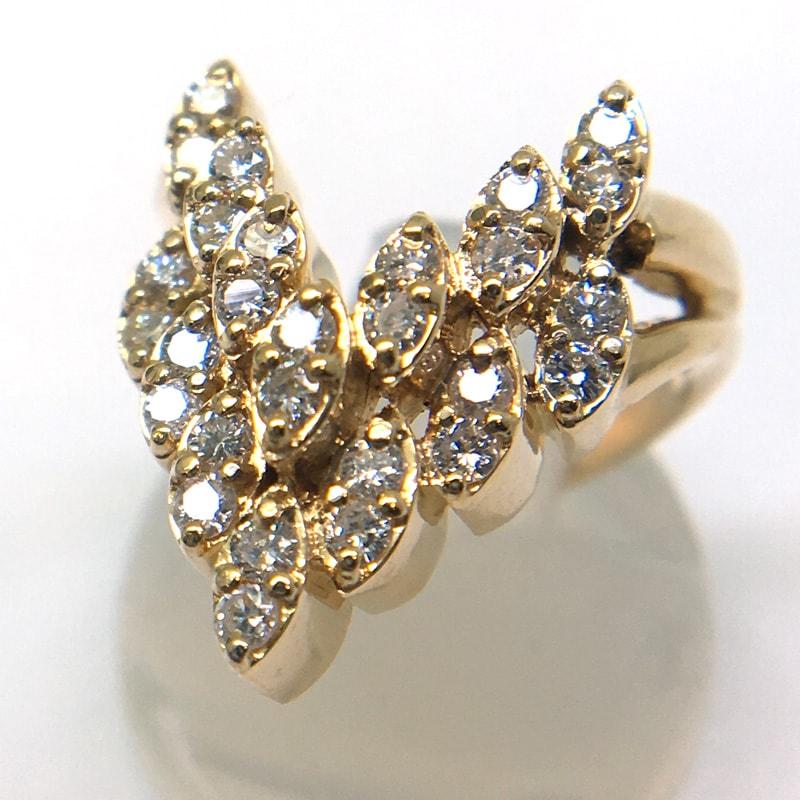 K18マーキスダイヤモンドデザインリング0.54ct