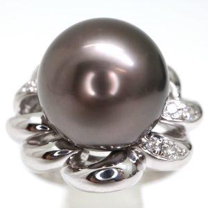 南洋黒蝶真珠リング 12.50mm珠