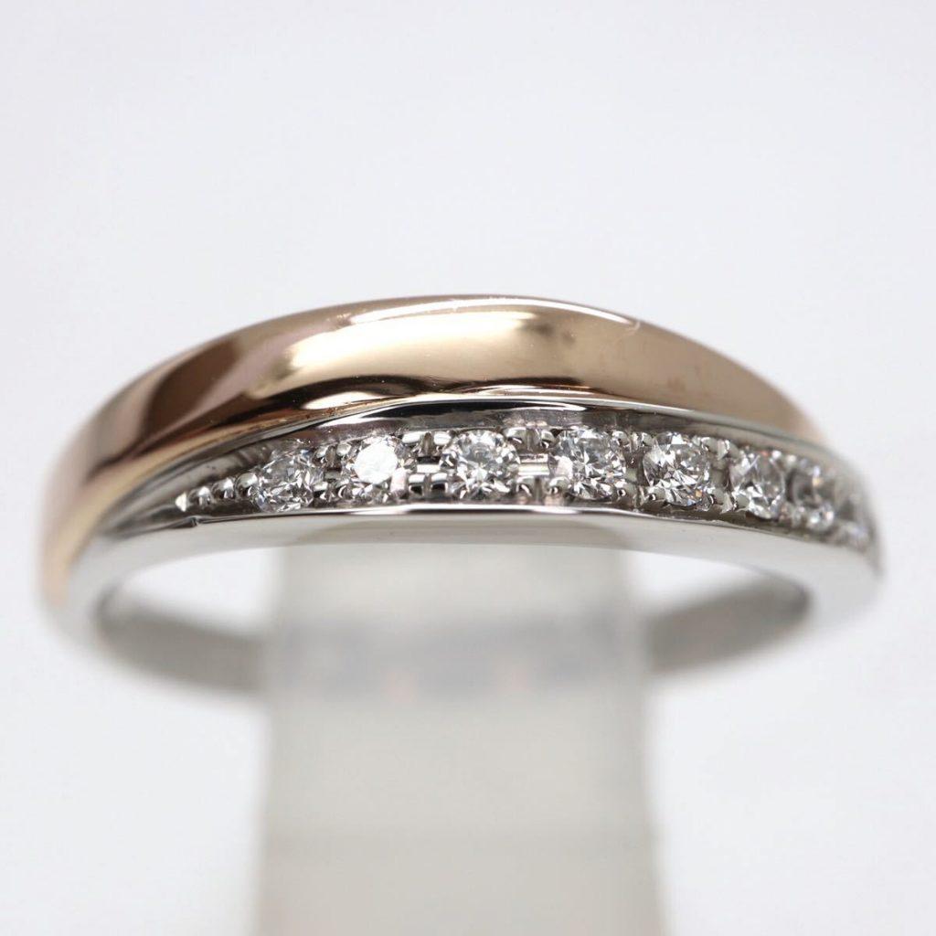 天然ダイヤモンド2連リング 4.1g