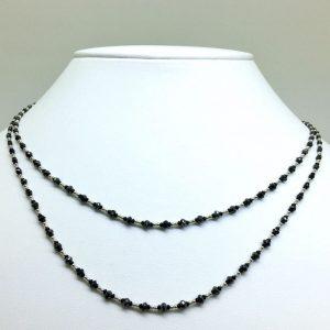 天然ブラックダイヤモンド2連ネックレス10.00ct
